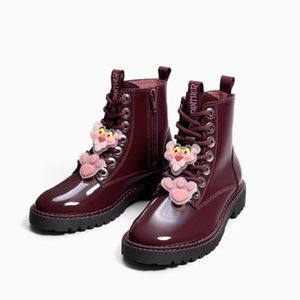 Zara burgundy Pink Panther lace up ankle boots